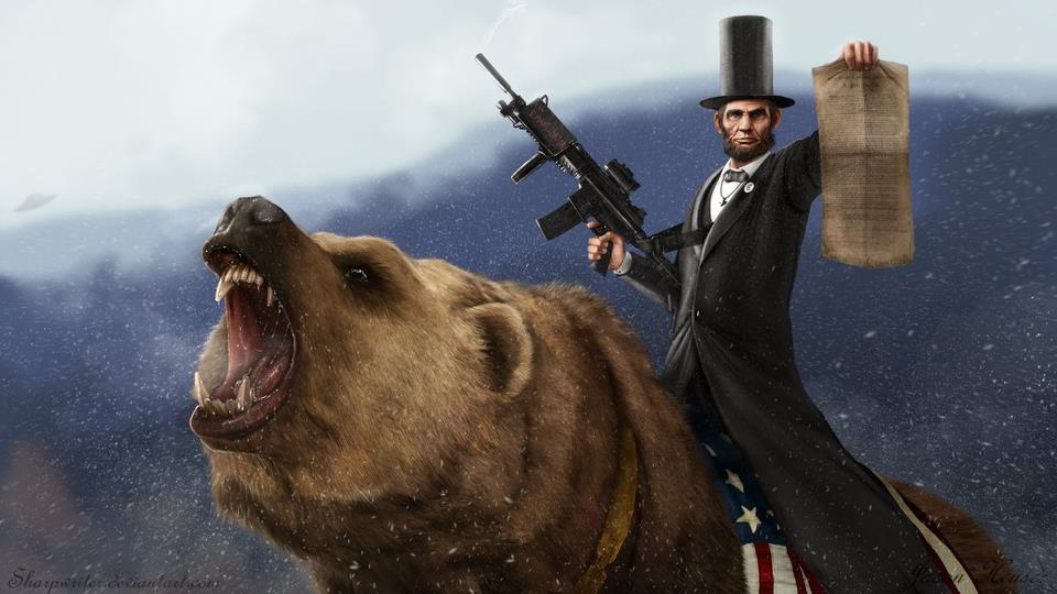 Abraham lincoln riding a grizzly with a machine gun